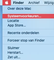 Instructie open macOS systeemvoorkeuren